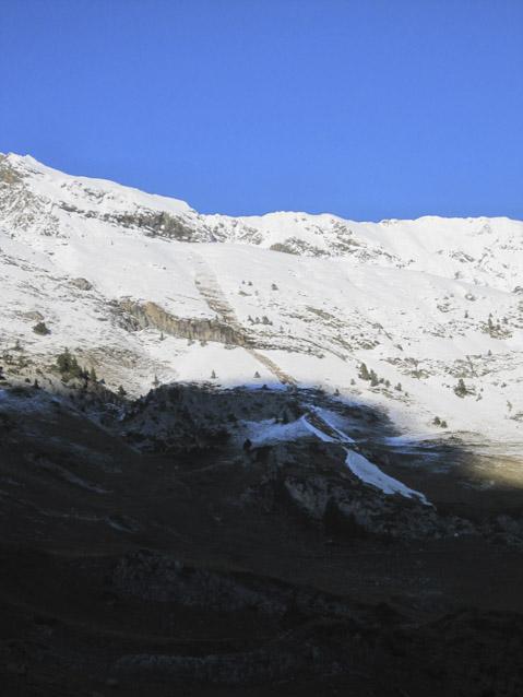 Alud en ladera de Pllan d'Estan