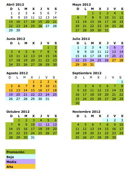 calendario verano 2012