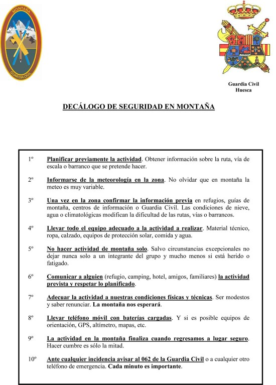 Decalogo Seguridad Guardia Civil de Montaña